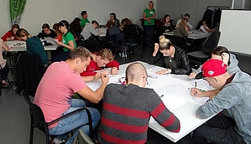 During workshop with students in Trbovlje, Slovenia